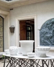 Plaster Walls, Limestone Door Casing, Gessoed Planters, Painted Table & Antique Bronze Releaf