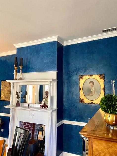 Blue Venetian Plaster Finish