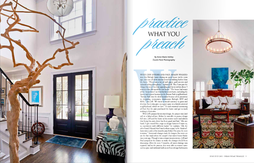 "Urban Home Magazine - ""Blossoming Through the Blue"" shown on the right."