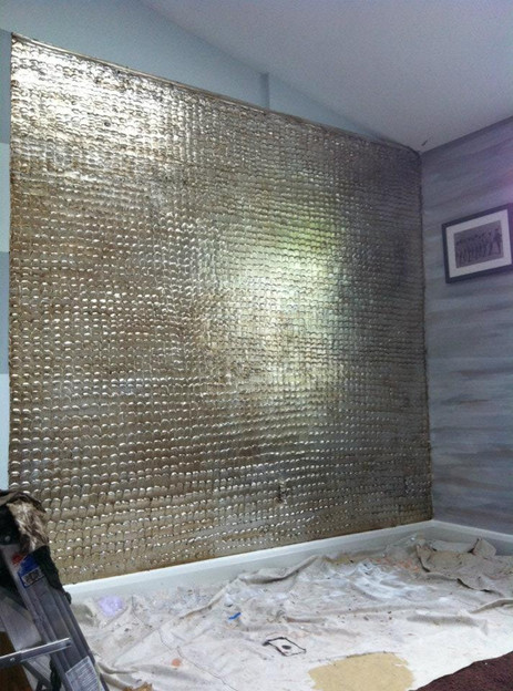 Silver Leaf on Sculpted Plaster Wall