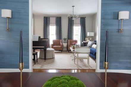 Faux Silk Wallpaper in Sapphire Blue
