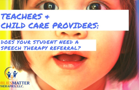 Teachers: Does your student need a speech therapy referral?