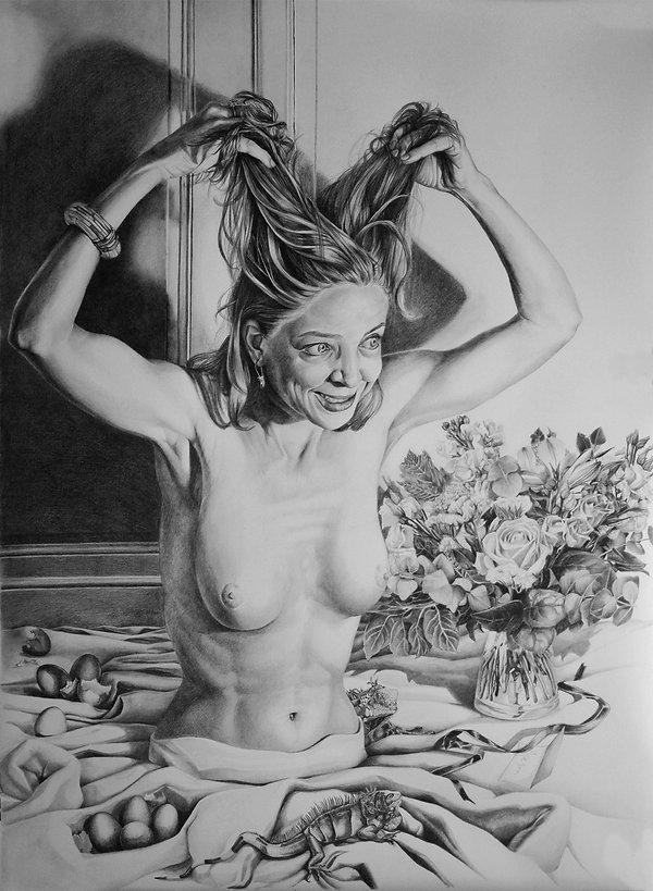 Diner time dessin graphite portrait femme