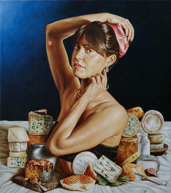 portrait jeune femme peinture à l'huile
