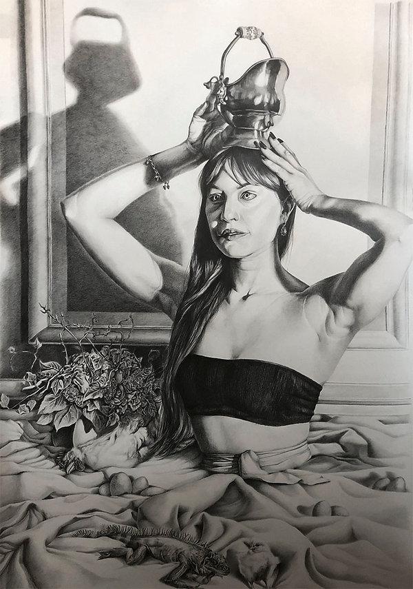 Clapyso portrait femme dessin graphite