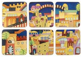 Coasters, Jerusalem, Set of 6. by Yair Emanuel