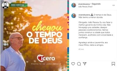 """""""Eu vou fazer o melhor governo da minha vida""""; Cícero Lucena agradece aos pessoense pela vitória"""
