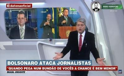 'Bundão é o senhor', rebate Datena após fala de Bolsonaro sobre jornalistas