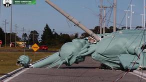 Vídeo: Ciclone derruba estátua da loja Havan no Rio Grande do Sul