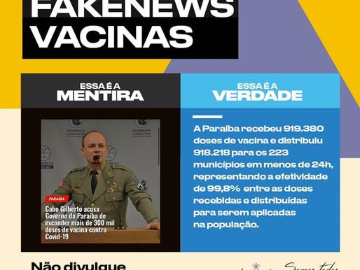 Governo da Paraíba desmente Fake News de Cabo Gilberto sobre vacinas