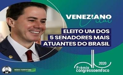 Veneziano é eleito entre os 5 senadores mais atuantes do Brasil na mais importante categoria do p...