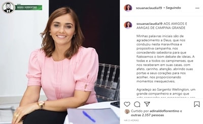 Ana Cláudia agradece e comemora resultado que mostra a força das oposições em Campina Grande