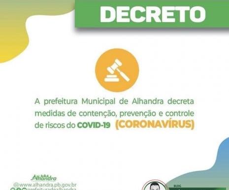 Coronavírus: Prefeitura de Alhandra determina fechamento de estabelecimentos em novo decreto