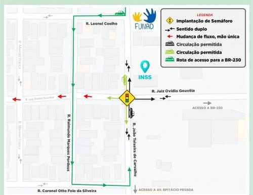 Semob-JP implanta semáforo no Pedro Gondim e faz mudanças no tráfego
