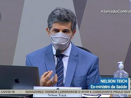 CPI da Covid: saí do governo porque Bolsonaro insistia na cloroquina, diz ex-ministro Nelson Teich