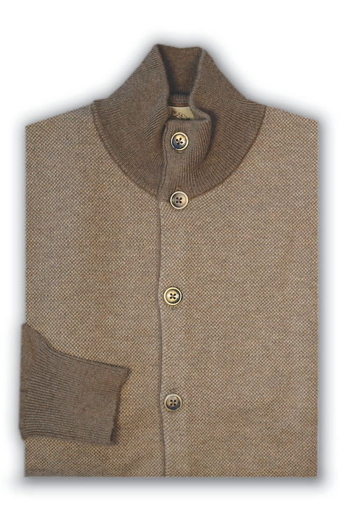 Light Brown Tweed Button Down Cashmere/Cotton Sweater