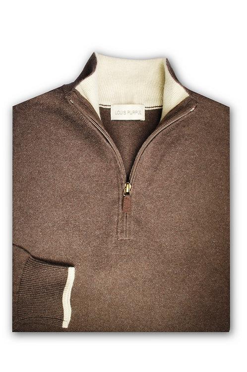Brown Half-zip Cashmere/Cotton Sweater