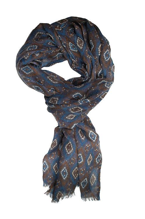 Brown/Blue Geometric Printed Scarf