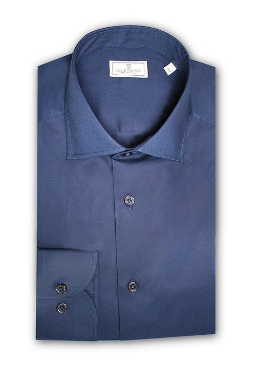 Midnight Blue Cotton-Poplin Shirt