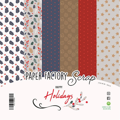 "Pad ""Happy Holidays"" 12 fogli 30x30"