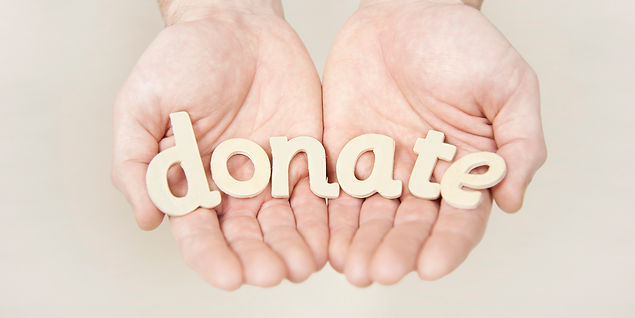 hands and the word donate