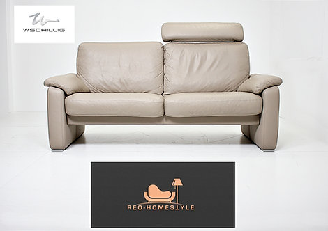 Willi Schillig Designer Sofa Dreisitzer Taupe / Grau Couch Leder
