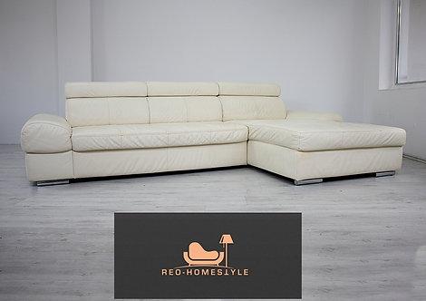Designer Sofa Couch Ecksofa Lounge Leder Creme Funktion