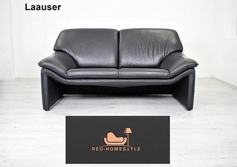Laauser Atlanta Zweisitzer Sofa Leder Couch Schwarz Echtleder