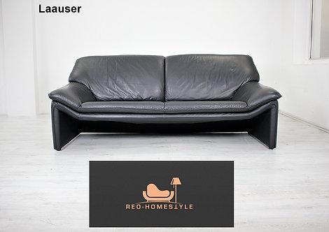 Laauser Atlanta Dreisitzer Sofa Leder Couch Schwarz Echtleder !