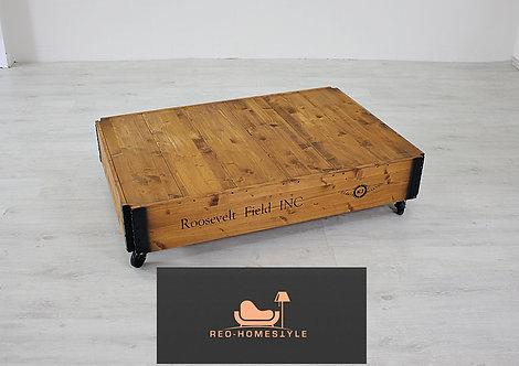 Vintage Echtholz Tisch Beistelltisch Look Holz Rollen Design