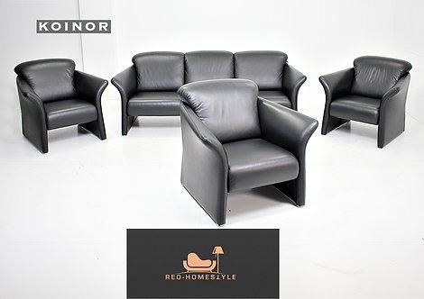 Koinor Designer Garnitur Set 3x Sessel 3er Leder Schwarz Sofa