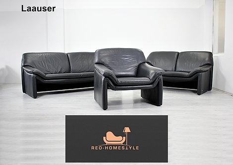 Laauser Atlanta Garnitur 3/2/1 Sofa Leder Couch Schwarz Echtleder