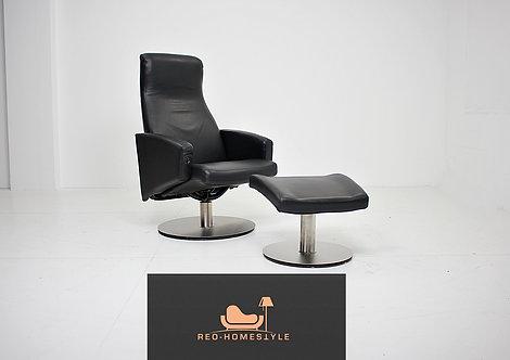 Designer Relax Sessel Liege Leder Funktion Hocker Sofa Schwarz