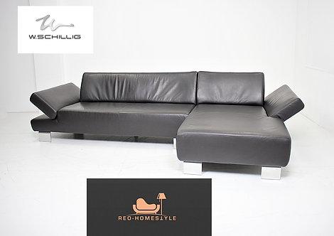 Willi Schillig Designer Sofa Leder Ecksofa Dunkelbraun Couch