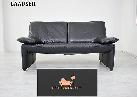 Laauser Flair Designer Sofa Zweisitzer Schwarz Leder Couch Klassi
