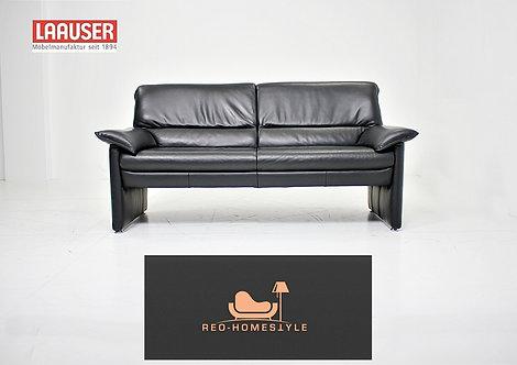 Laauser Plus Designer Sofa Zweisitzer Schwarz Leder Couch Stil
