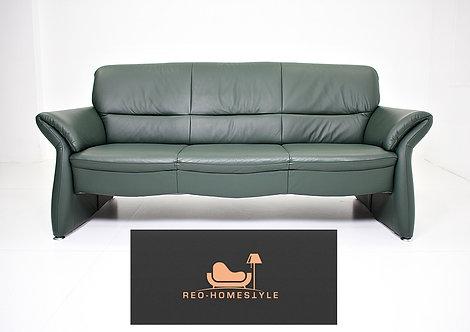Designer Sofa Dreisitzer Grün Leder Couch Sofa