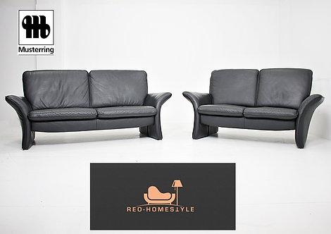 Musterring Designer Sofa Garnitur 3er2er Leder Schwarz Echtleder