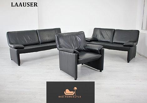 Laauser Designer Garnitur 3/2/1 Sofa Schwarz Leder Couch Sessel