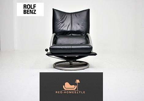 Rolf Benz Designer Sessel Sofa Couch Schwarz Leder Interior