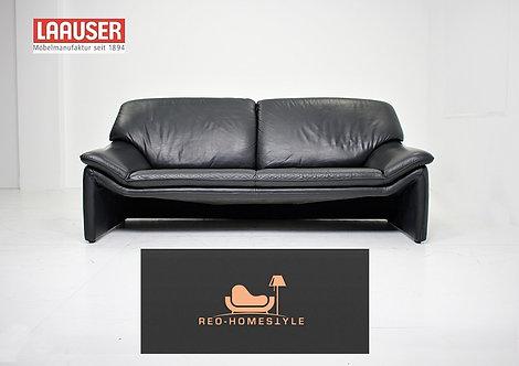 Laauser Atlanta Dreisitzer Sofa Leder Couch Schwarz Echtleder