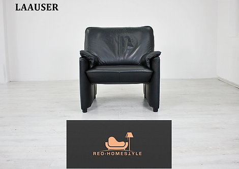 Laauser Flair Designer Sofa Sessel Schwarz Leder Couch Klassiker