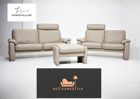 Willi Schillig Designer Garnitur 3/2 Hocker Leder Sofa Taupe Set