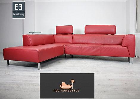Ewald Schillig Designer Sofa Ecksofa Bordeaux Leder Tisch Couch