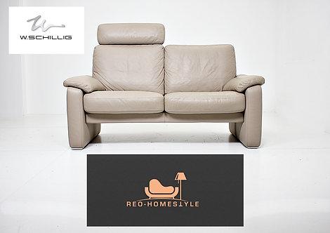 Willi Schillig Designer Sofa Leder Zweisitzer Taupe Couch Wohnen