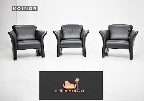 3 X Koinor Designer Sessel Leder Schwarz Couch Sitz