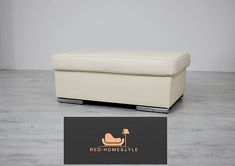 Designer Hocker Pouff Schemel Creme Sofa Sessel Leder*