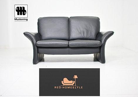 Musterring Designer Sofa Zweisitzer Schwarz Leder Couch Echtleder