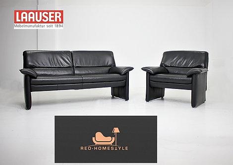 Laauser Plus Garnitur Sessel Zweisitzer Leder Schwarz Sofa Couch