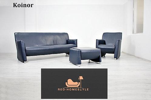 Koinor Designer Garnitur Set Sofa Leder D.Blau Couch 3/1/ Hocker
